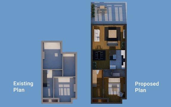 house extension architectural plan design 3d