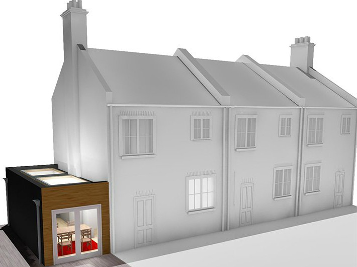 Side single storey house extension